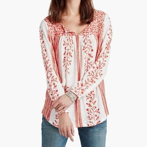 Lucky Brand Tassel Mixed Print Top Floral